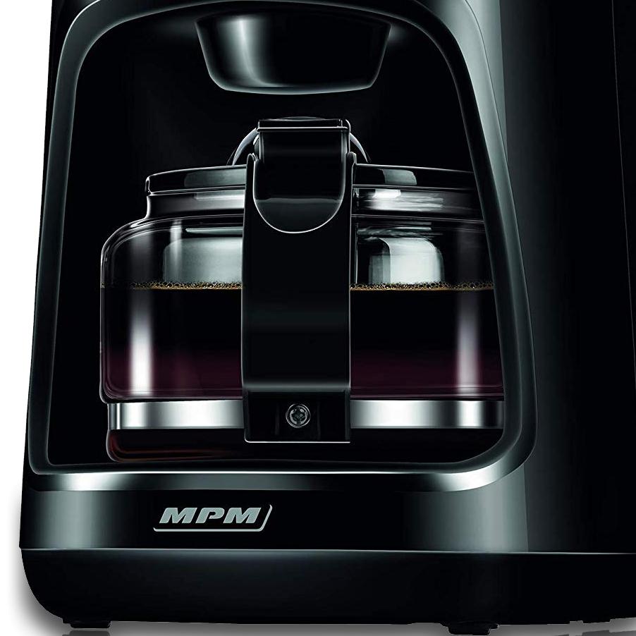 MPM MKW-02 Cafetera eléctrica de goteo automática , Bloqueo de goteo, máquina café de filtro capacidad 10 tazas, 1,25 litros, función de mantenedora calor, color negro acero inoxidable, 800 W