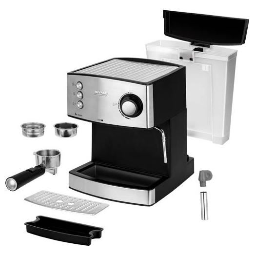 MPM MKW-06M Cafetera express 20 bares, para realizar café espresso y cappuccino, vaporizador para espumar leche, calienta tazas ,acabado acero inoxidable, depósito de agua 1,7 L desmontable, 850W