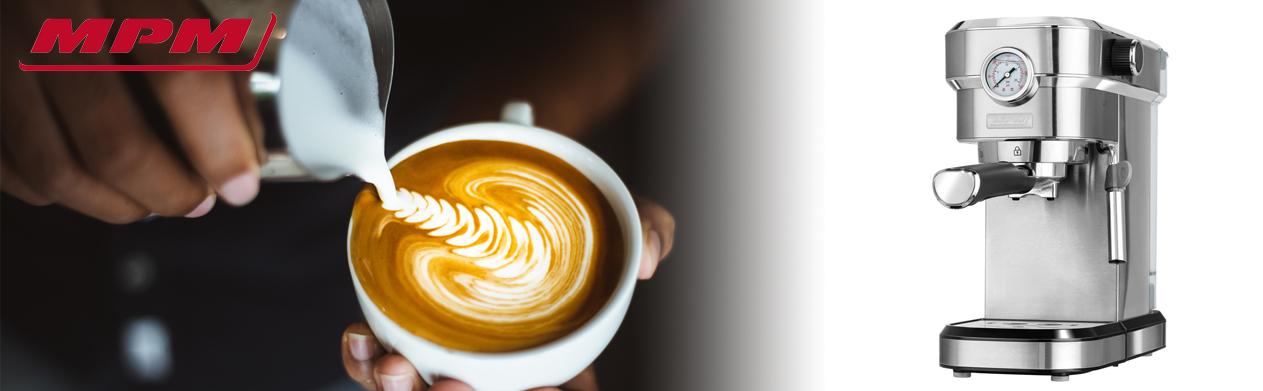 MPM MKW-08M Cafetera express 20 bares, para realizar café espresso y cappuccino, vaporizador para espumar leche, calienta tazas ,acabado acero inoxidable, depósito de agua 1,2 L desmontable, 1350W