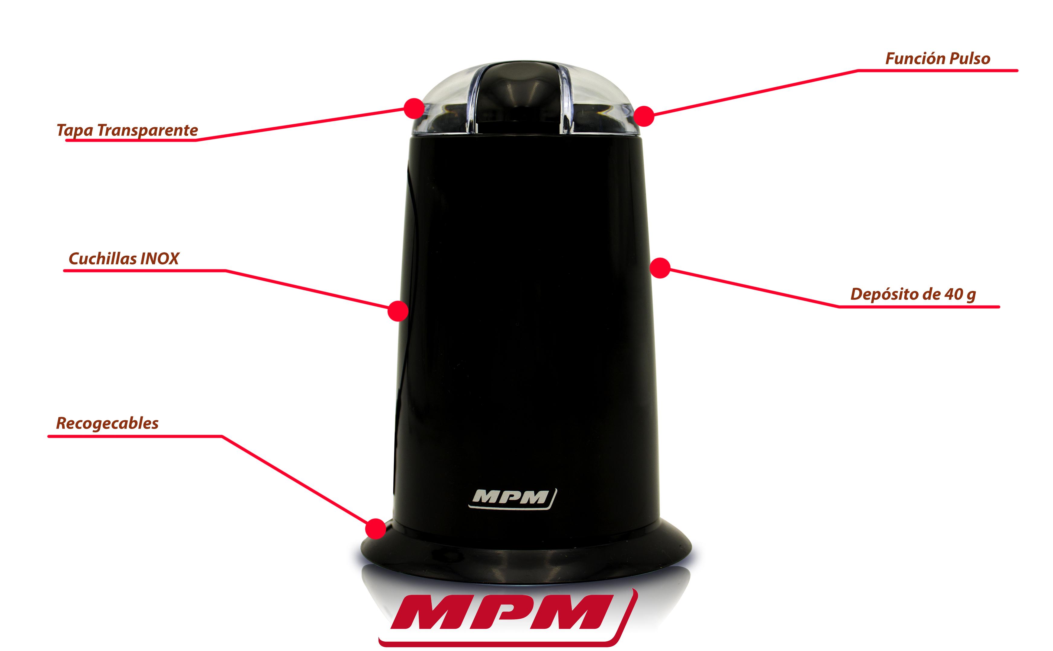 MPM MMK-02M Molinillo café eléctrico pequeño, semillas especias y frutos secos, cuchilla doble y cuerpo acero inox, 115g/min. capacidad 50g , 150W