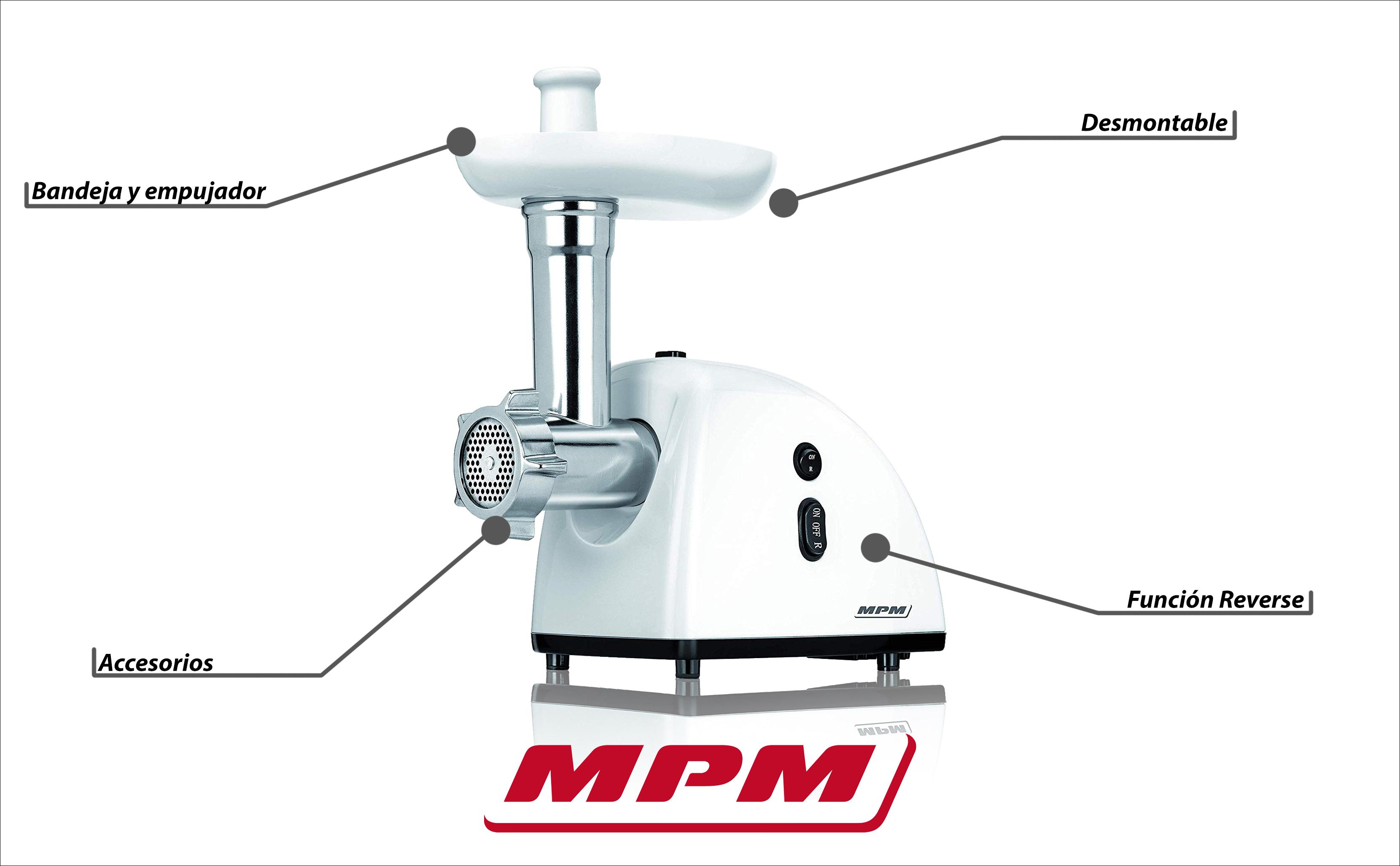MPM MMM-05 Picadora de Carne eléctrica con ebutidora de salchichas 3 discos de corte, engranaje metálico, función inversa, 720W