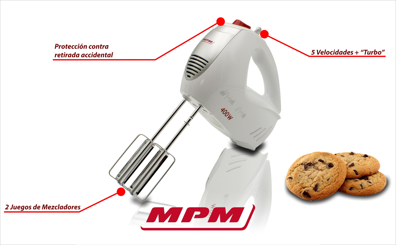 MPM MMR-11 Batidora Amasadora repostería de mano, 5 velocidades + turbo, varillas y gancho amasar acero inoxidable, 400W