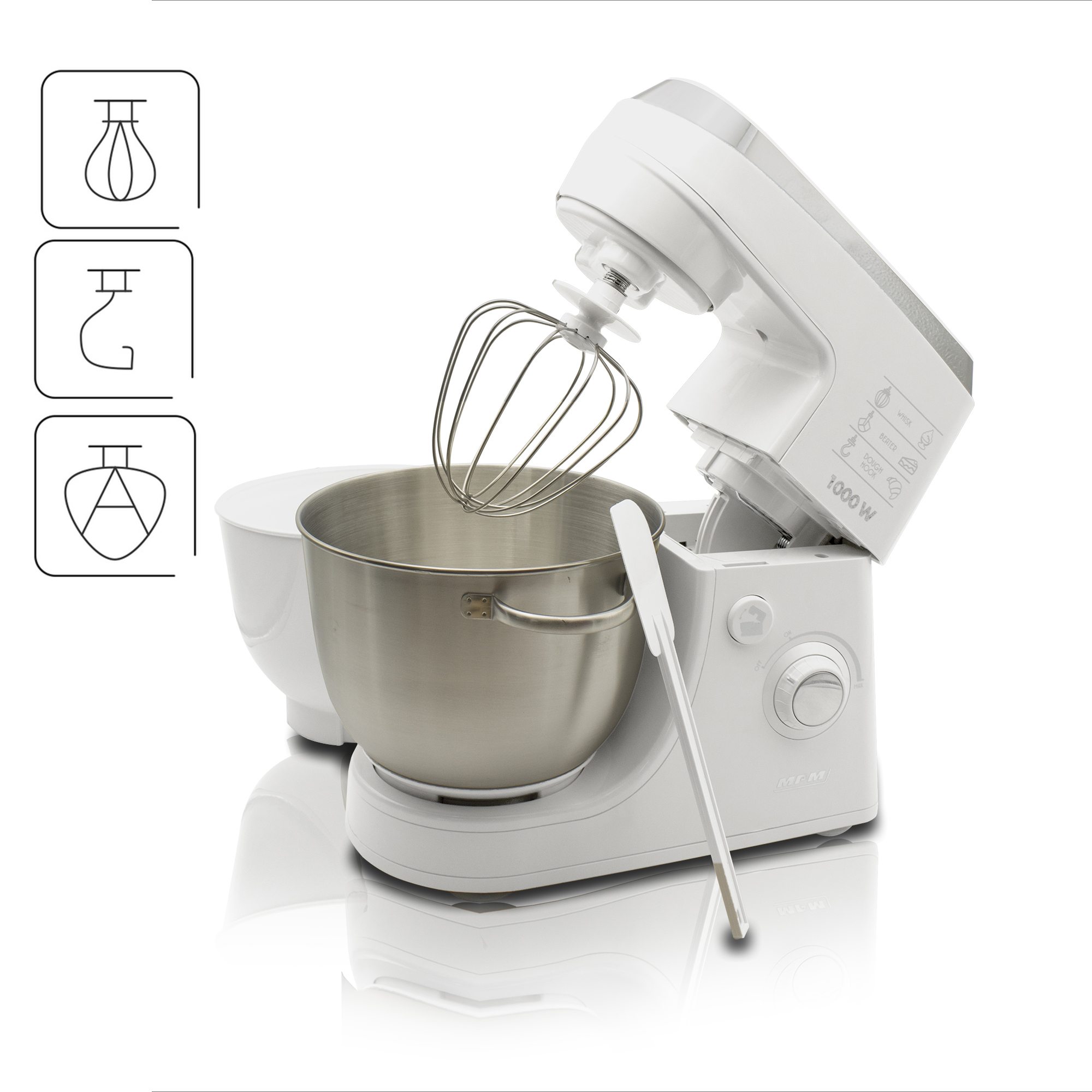MPM MMR-12 Batidora Amasadora repostería Profesional Robot Cocina Orbital, Velocidad electrónica, 2 x BOL 4,2 litros, 1000W, Blanco
