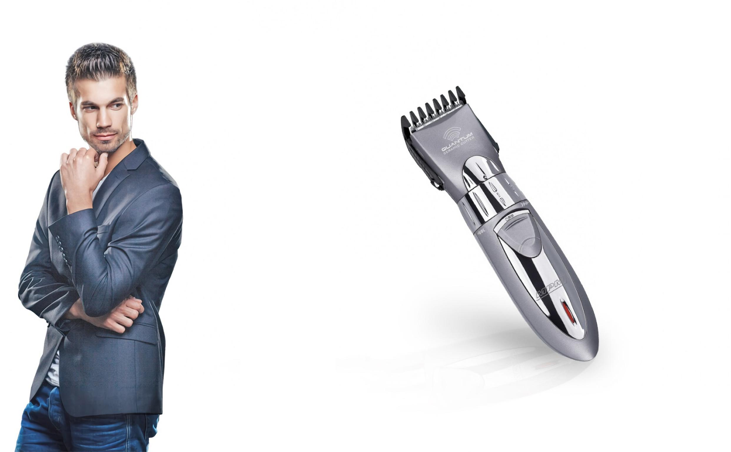 MPM MMW-01 Cortapelos Eléctrico afeitadora para Hombre, Inalámbrico, Ajuste de corte, Hoja cerámica, cabeza, barba y cuerpo, Blanco