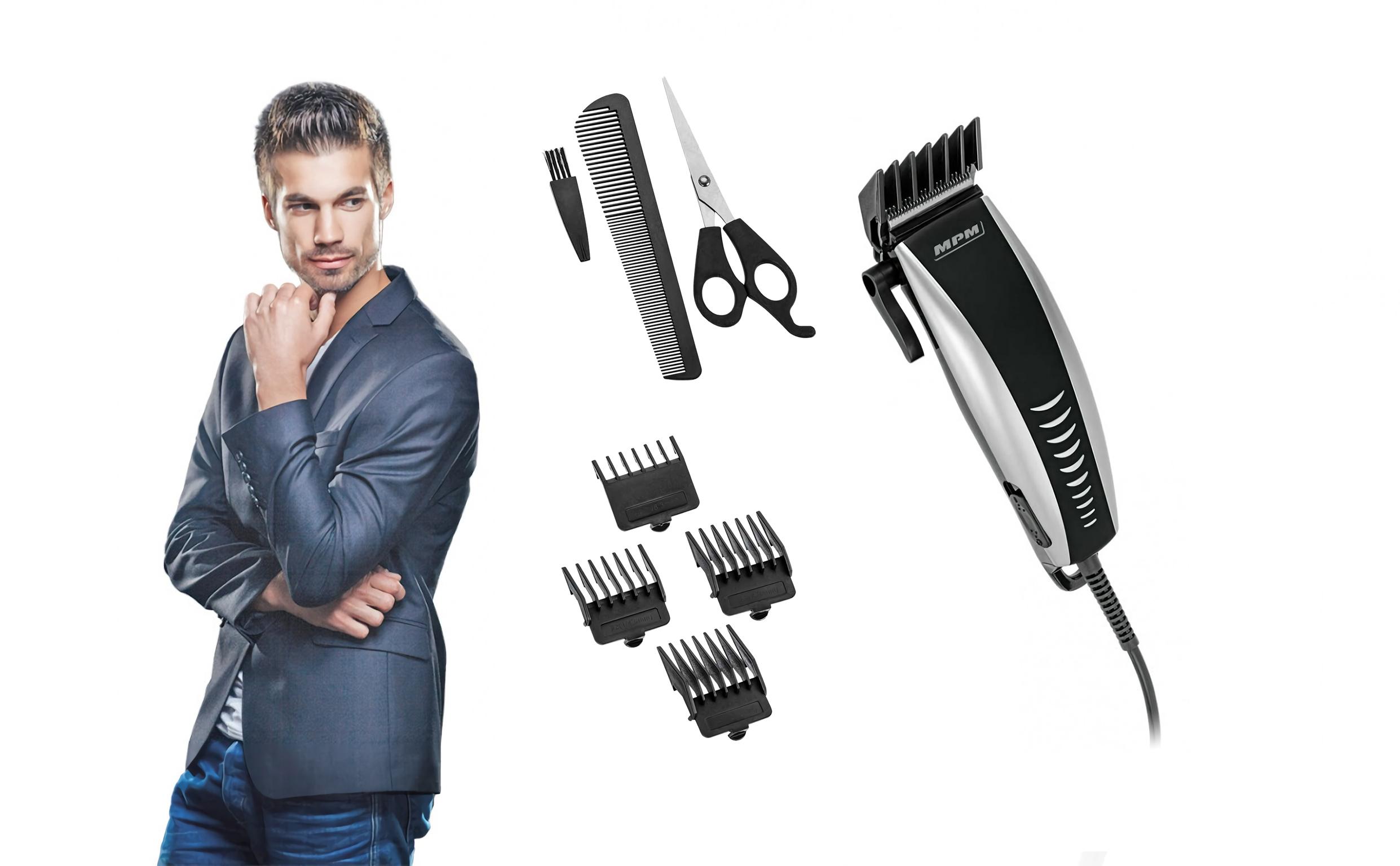 MPM MMW-02 Cortapelos Eléctrico Profesional, afeitadora para Hombre, Ajuste de corte, Acero Inoxidable, cabeza, barba y cuerpo