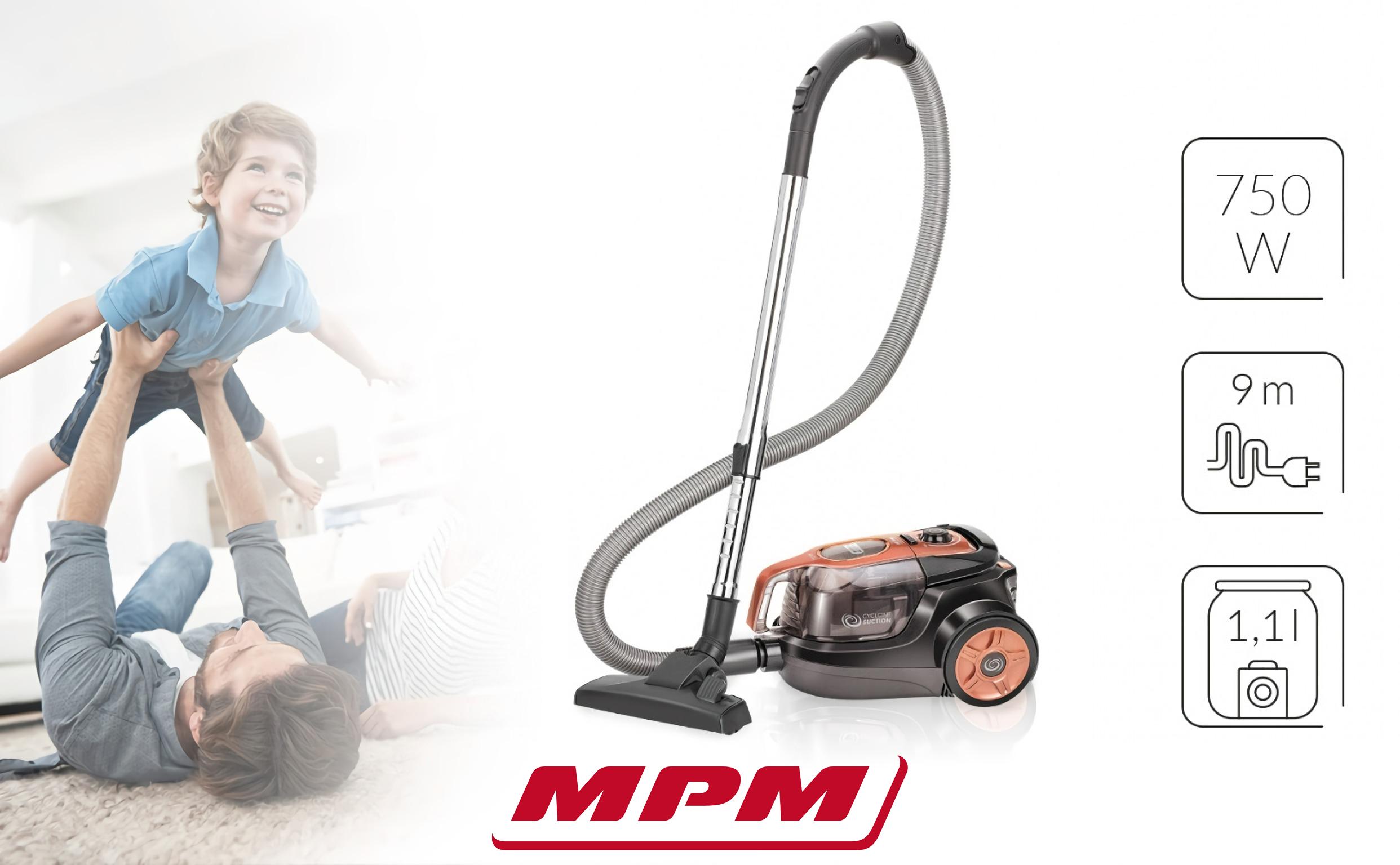 MPM MOD-25 Aspiradora Sin Bolsa Cyclonic, con Accesorios, 1.1 litros, Silencioso, Fácil Limpieza, Cable 9 metros, 750W