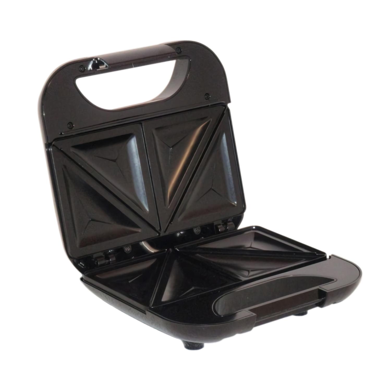 MPM MOP-19M Sandwichera eléctrica para 2 sandwiches, placas antiadherentes en forma de triángulo, acabado acero inoxidable, 750W