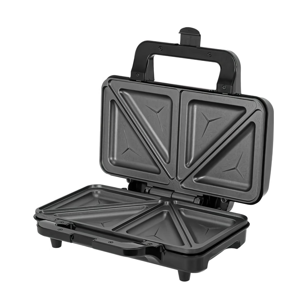 MPM MOP-20M Sandwichera eléctrica para 2 sandwiches, placas antiadherentes en forma de triángulo, acabado acero inoxidable, 900W