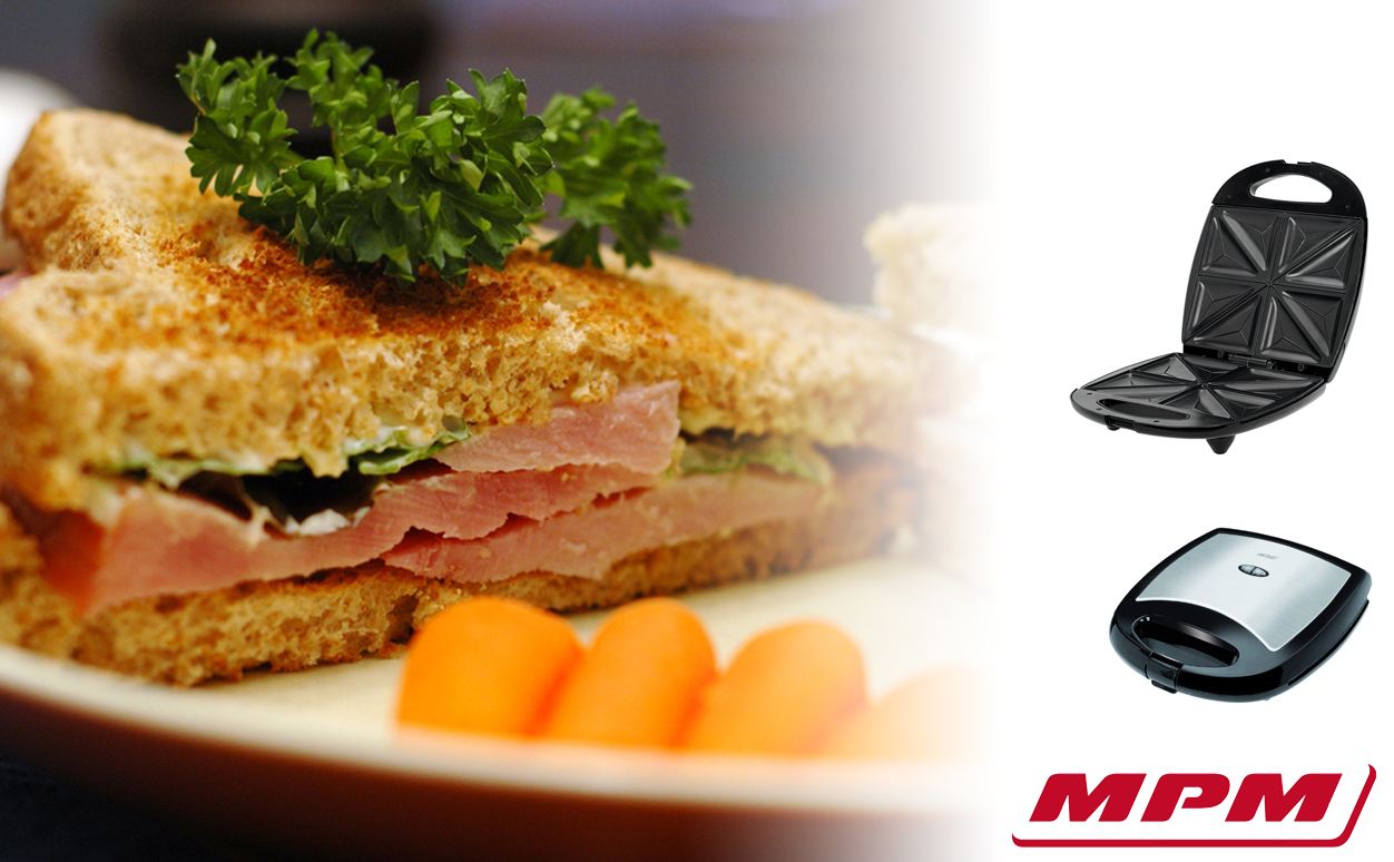 MPM MOP-22M Sandwichera eléctrica para 4 sandwiches, placas antiadherentes en forma de triángulo, acabado acero inoxidable, 1300W