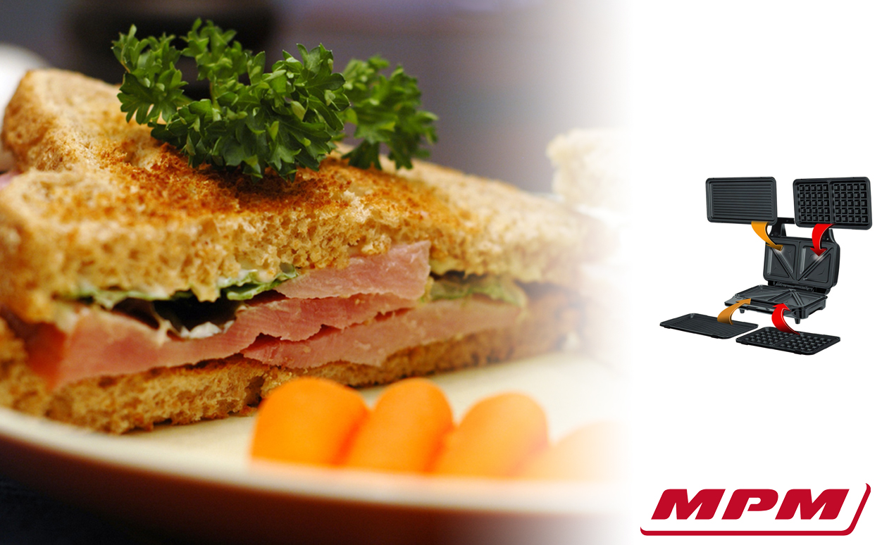 MPM MOP-23M Sandwichera 3 en 1, placas intercambiables, Sandwich tostadora, Gofrera gofres belgas, Grill Plancha para carne y pescados, 900W