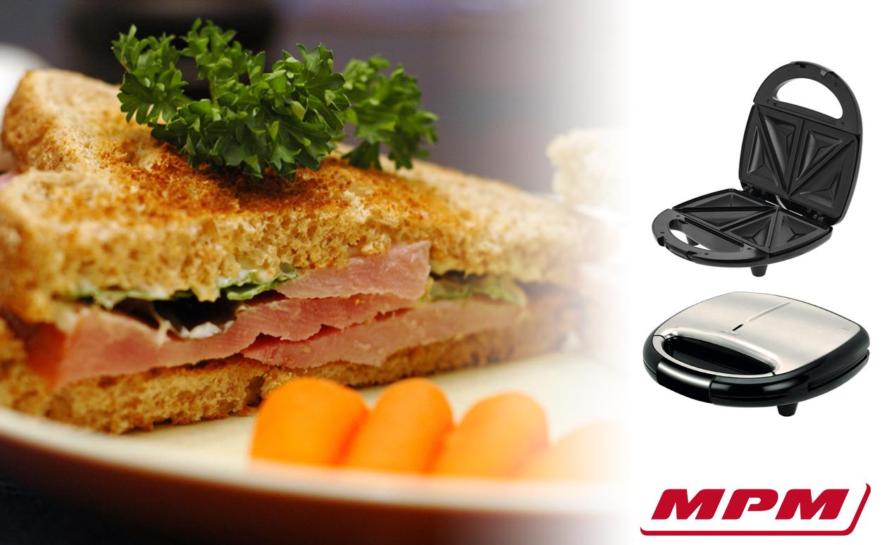 MPM MOP-26M Sandwichera eléctrica para 2 sandwiches, placas antiadherentes en forma de triángulo, acabado acero inoxidable, 750W
