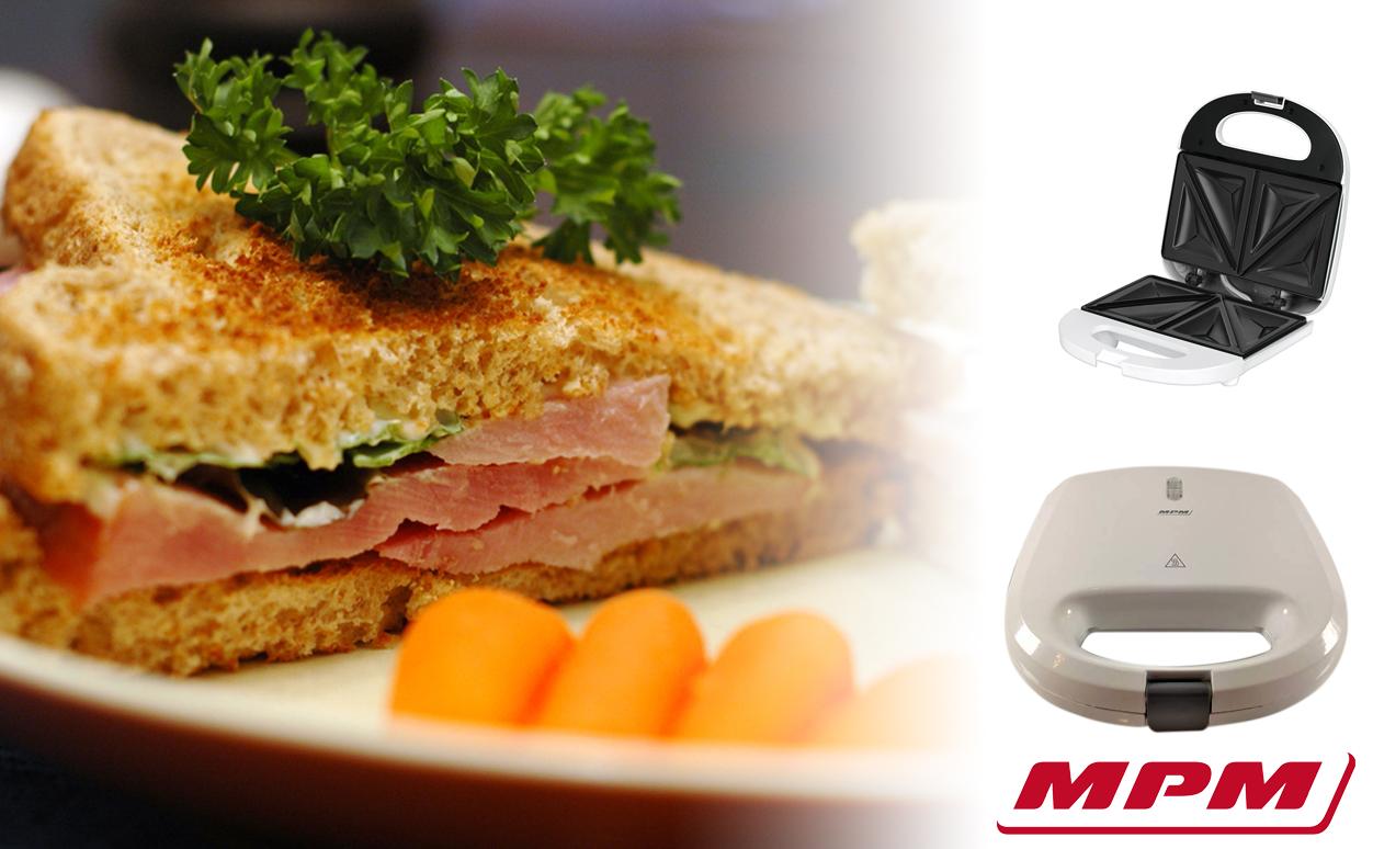 MPM MOP-27 Sandwichera eléctrica para 2 sandwiches, placas antiadherentes en forma de triángulo, blanca, 750W