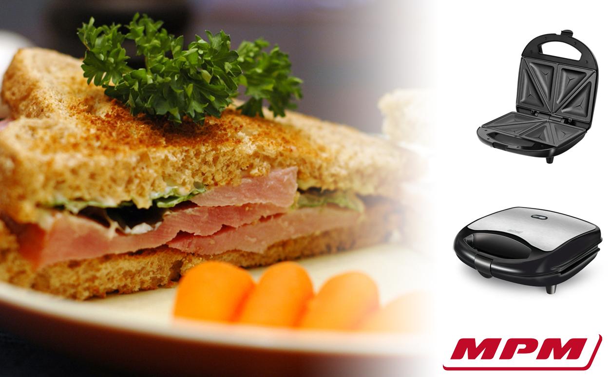 MPM MOP-29M Sandwichera eléctrica para 2 sandwiches, placas antiadherentes en forma de triángulo, acabado acero inoxidable, 700W