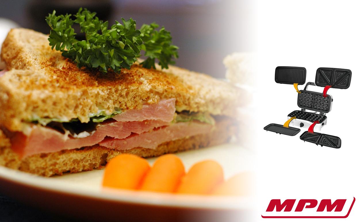 MPM MOP-33M Sandwichera 3 en 1, placas intercambiables, Sandwich tostadora, Gofrera gofres belgas, Grill Plancha para carne y pescados 1200W