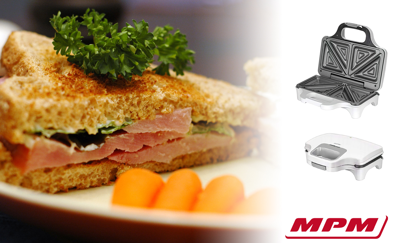 MPM MOP-34 Sandwichera eléctrica para 2 sandwiches, placas antiadherentes en forma de triángulo, blanca, 900W