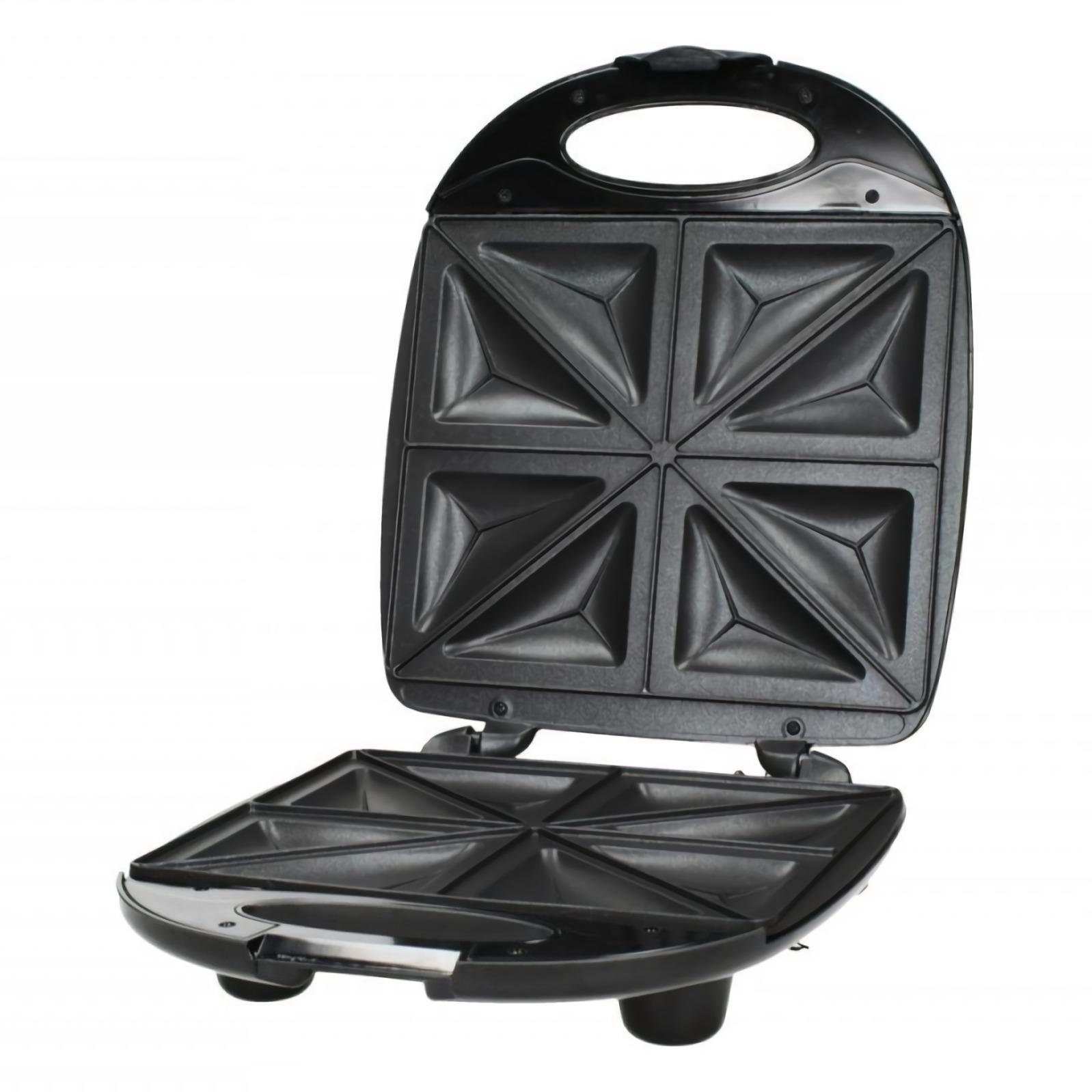 MPM MOP-05M Sandwichera eléctrica para 4 sandwiches, placas antiadherentes en forma de triángulo, acabado en Acero Inoxidable, 1200W