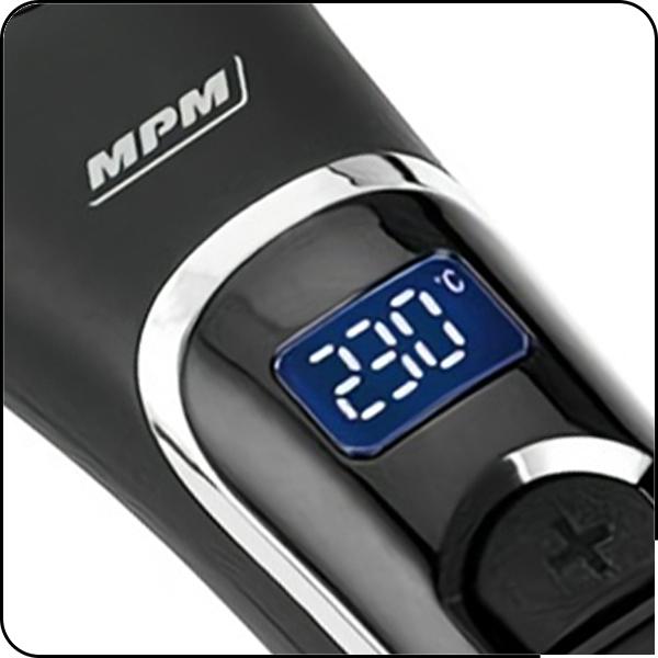 MPM MPR-08 Cepillo de aire Secador de cabello, Iónico, Alisador Cerámico, Control de la temperatura de 80º a 230º, Pantalla LED, apagado automático, 57 W