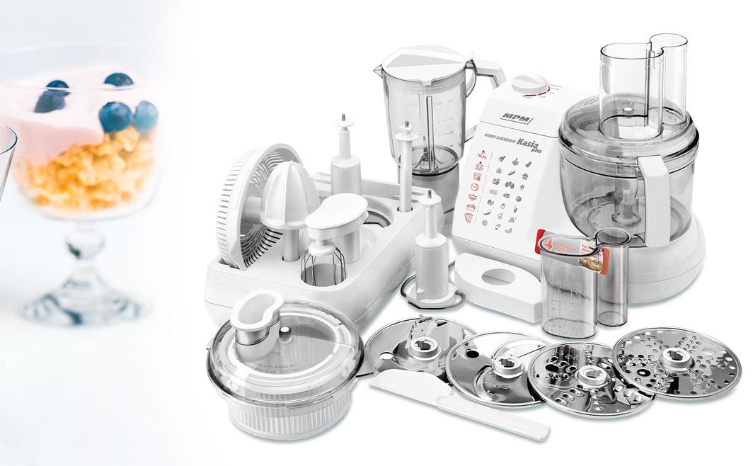 MPM MRK-11 Procesador de Alimentos de Cocina Eléctrico, Amasador, Batidora, Exprimidor, Licuadora, Picadora, 1,5 L, Todo en Uno, 800 W