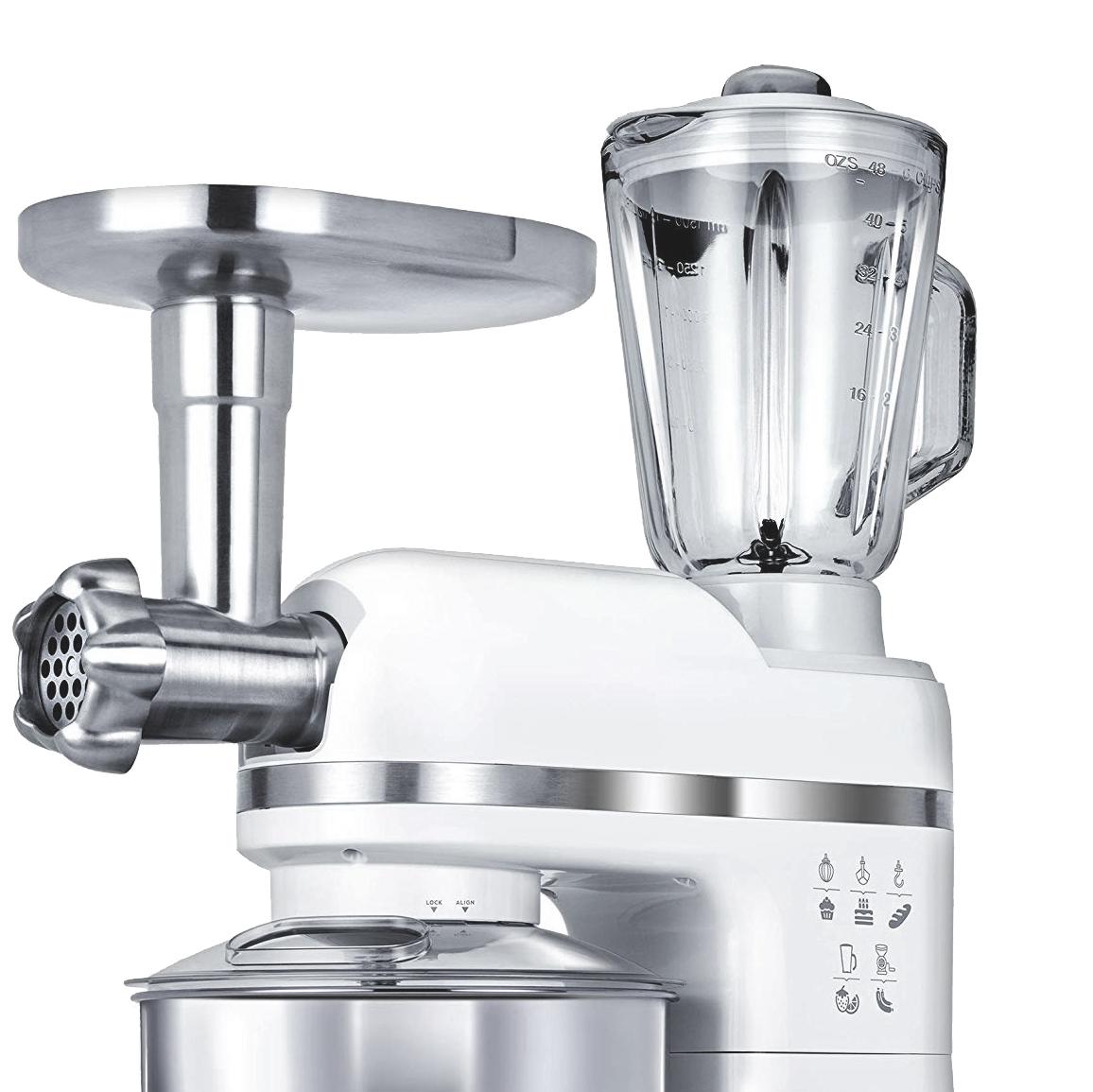 MPM MRK-15 Batidora Robot Cocina Orbital Profesional , Amasadora repostería, Picadora Carne, Batidora Vaso 1.5L, Velocidad electrónica, 4 litros, 1200W, Blanco
