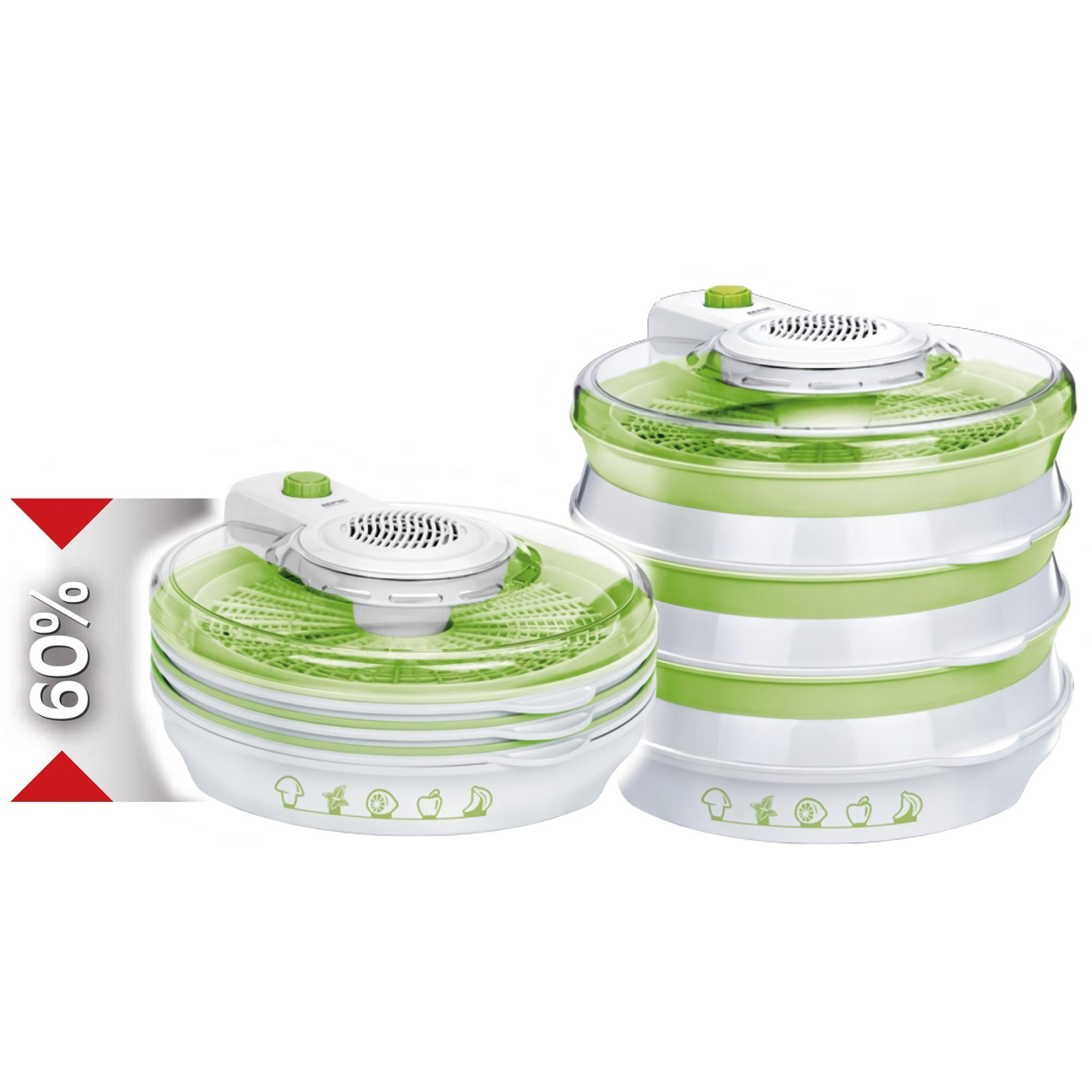 MPM MSG-06 Deshidratador de Alimentos plegable, 6 Bandejas de 30 cm, 2 Niveles de Potencia, frutas, setas y verduras, 400W