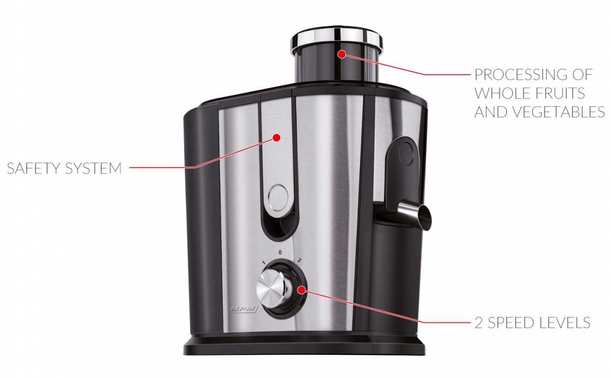 MPM MSO-07M Licuadora para Frutas y verduras de Acero Inoxidable, 2 Velocidades, 1 Litro por minuto, Alto Rendimiento, 1,2 L , 500W