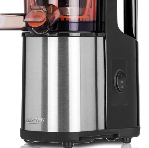 MPM MSO-12M Licuadora prensado en frío para verduras y frutas, baja velocidad 60RPM, Slow Juicer, boca ancha, función inversa, 150W