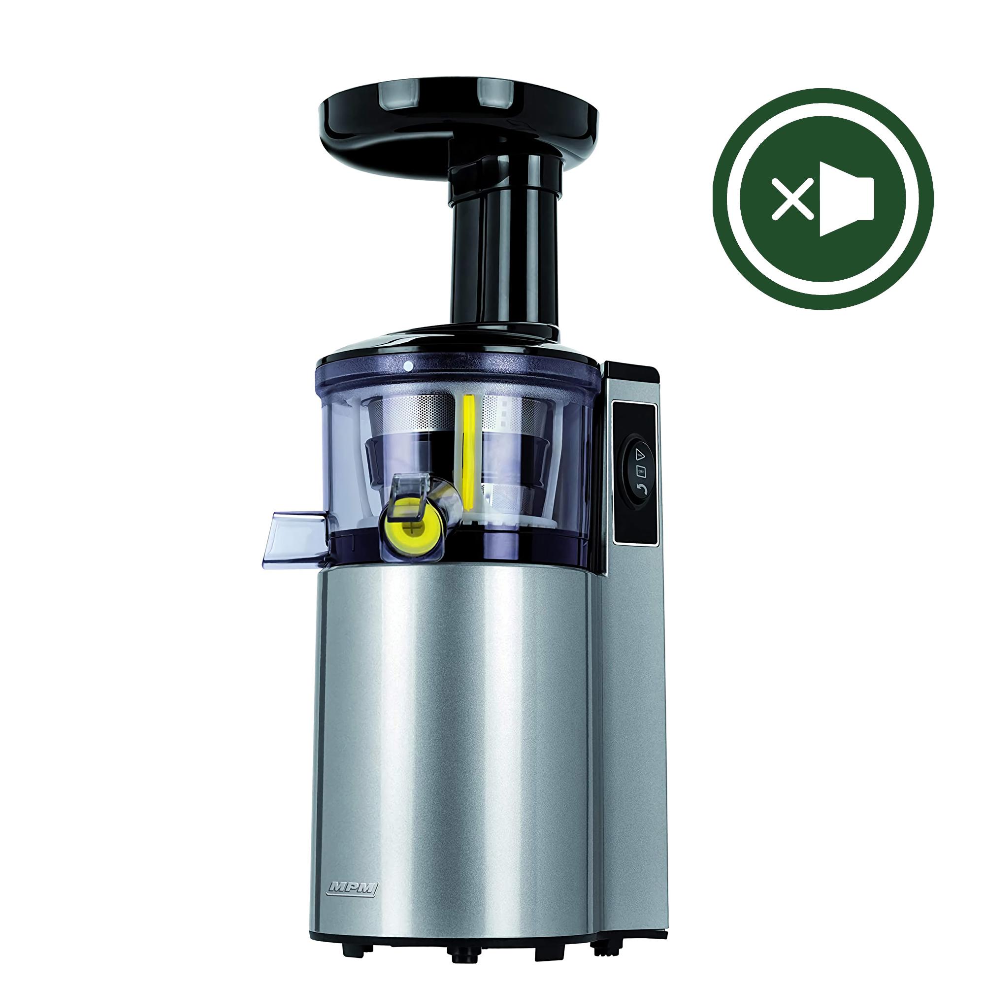 MPM MSO-14 Licuadora prensado en frío para verduras y frutas, baja velocidad 60RPM, Acero Inoxidable, Slow Juicer, boca ancha, función inversa, 150W