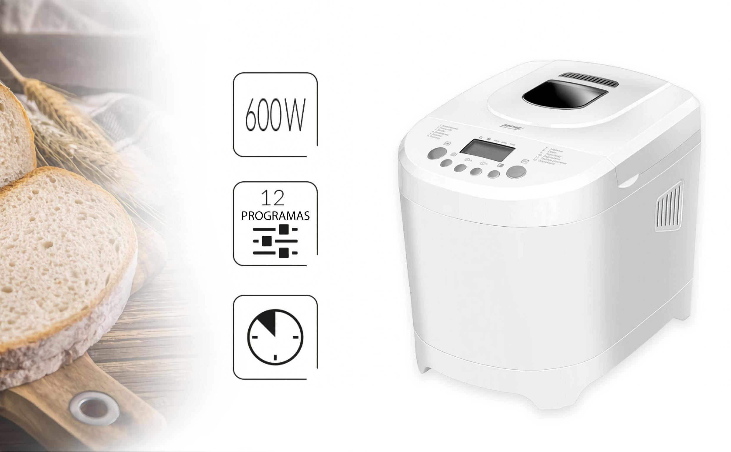 MPM MUC-01 Panificadora Amasadora Automática, 12 Programas, Pan Integral, Sin Gluten, Antiadherente, 900 g, 600W, Retroiluminado