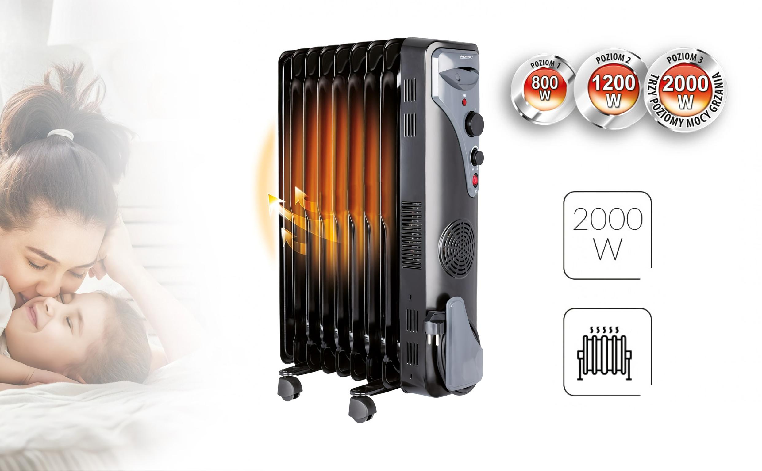 MPM MUG-17 Radiador de aceite 2000W 9 elementos termostato 3 niveles de potencia, Aire caliente