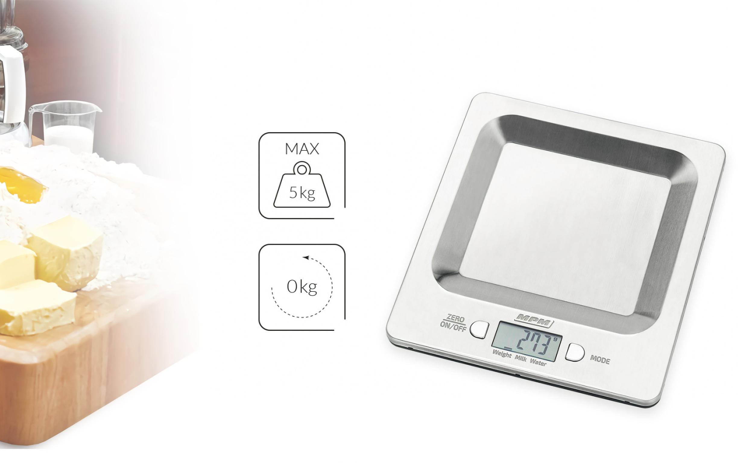 MPM MWK-04M Báscula de cocina digital de acero inoxidable, alta precisión pasos 1g pesa alimentos hasta 5Kg, display LCD, función tara, multifunción