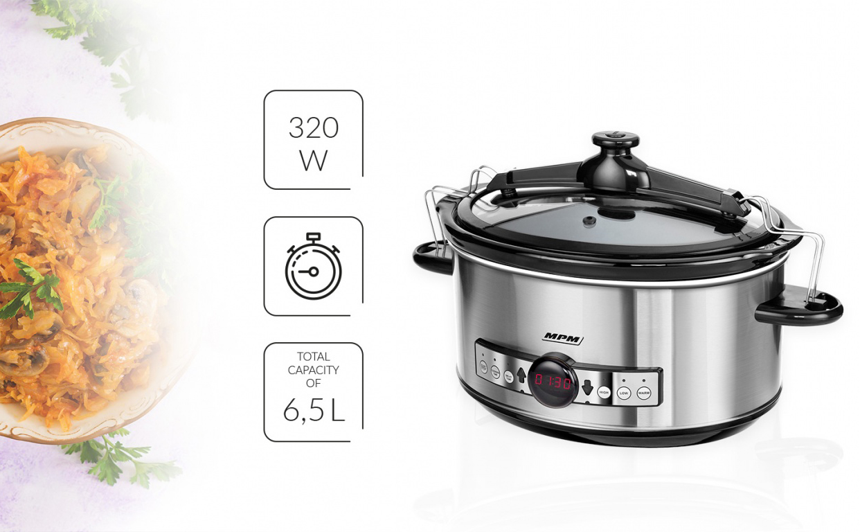 MPM MWO-01M Olla cocción lenta programable 6,5 litros, cubeta cerámica ovalada libre PFOA y PTFE, 3 nivles temperatura, tapa cristal, Slow Cooker acero inoxidable