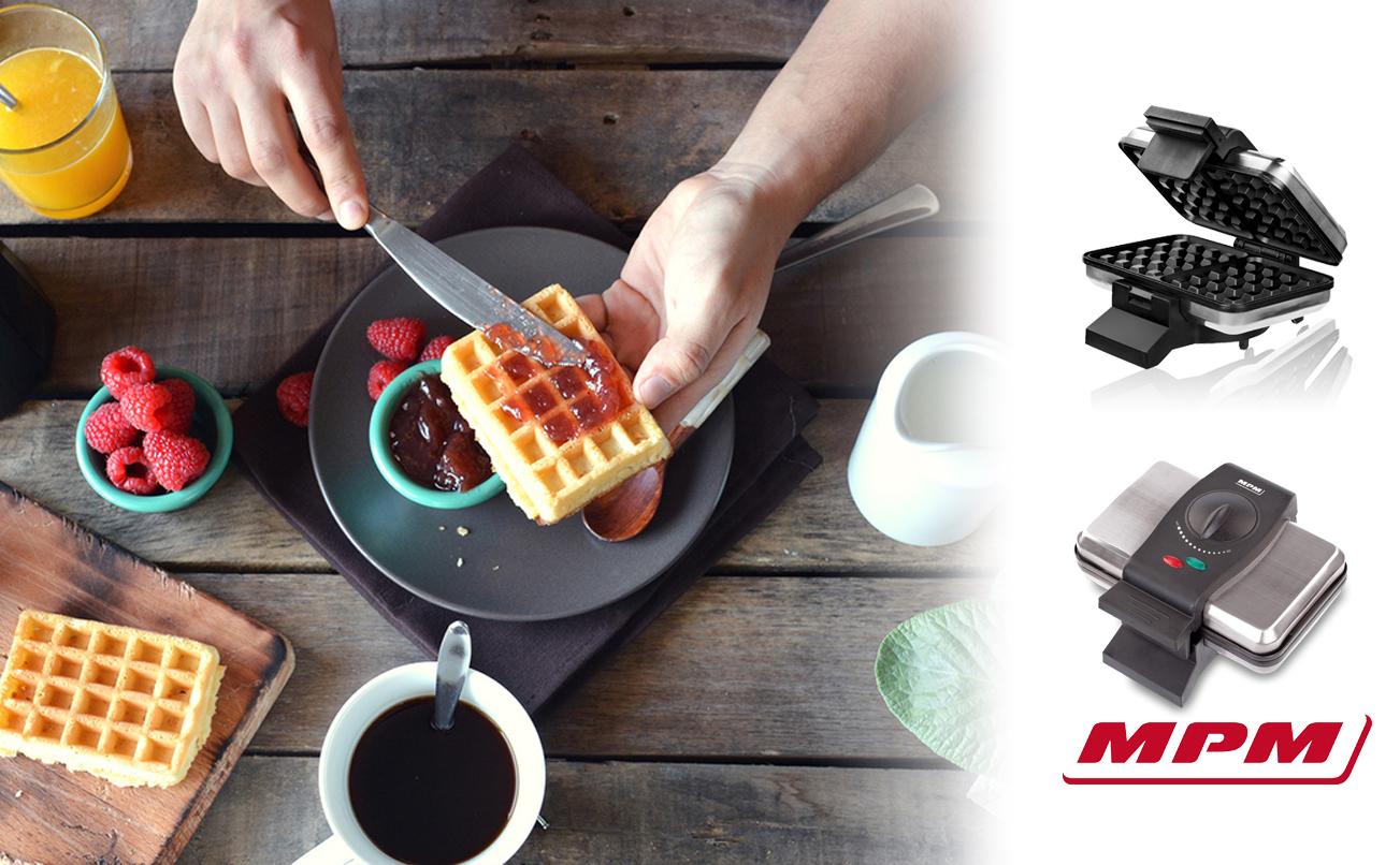 MPM S633G Gofrera para 2 gofres Belgas gruesos, regulador de temperatura, placas antiadherente, plata , 1200W