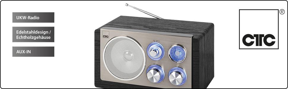 CTC MR 7027 - Radio retro diseño vintage acabado en madera (FM, AUX-IN, Antena telescópica)