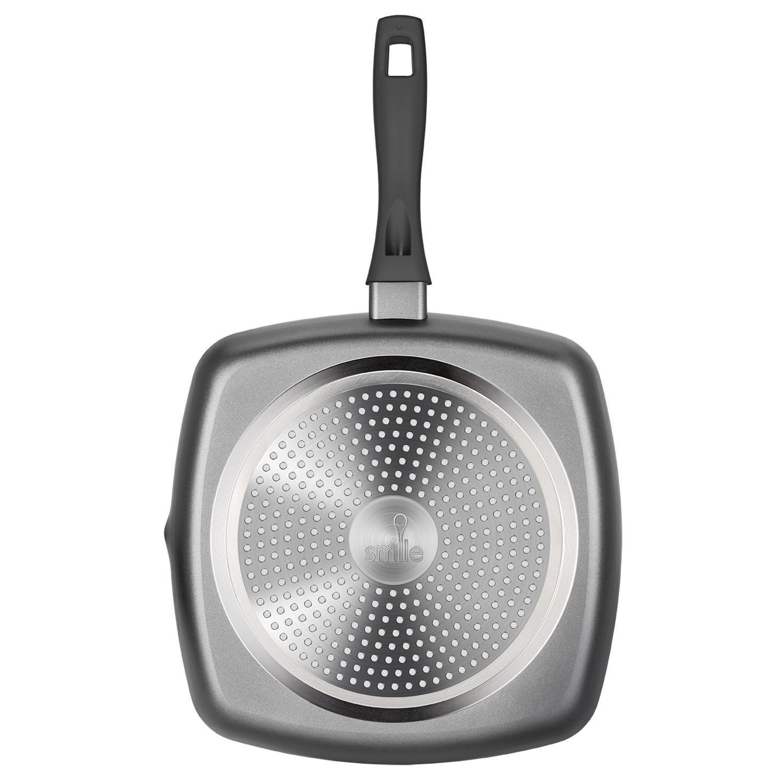 Smile MPG-26/6/01 Grill Asador inducción Rayas 26 cm, aluminio forjado, Antiadherente ecológico sin PFOA, Apta todas las cocinas, vitroceramica, gas, lavavajillas