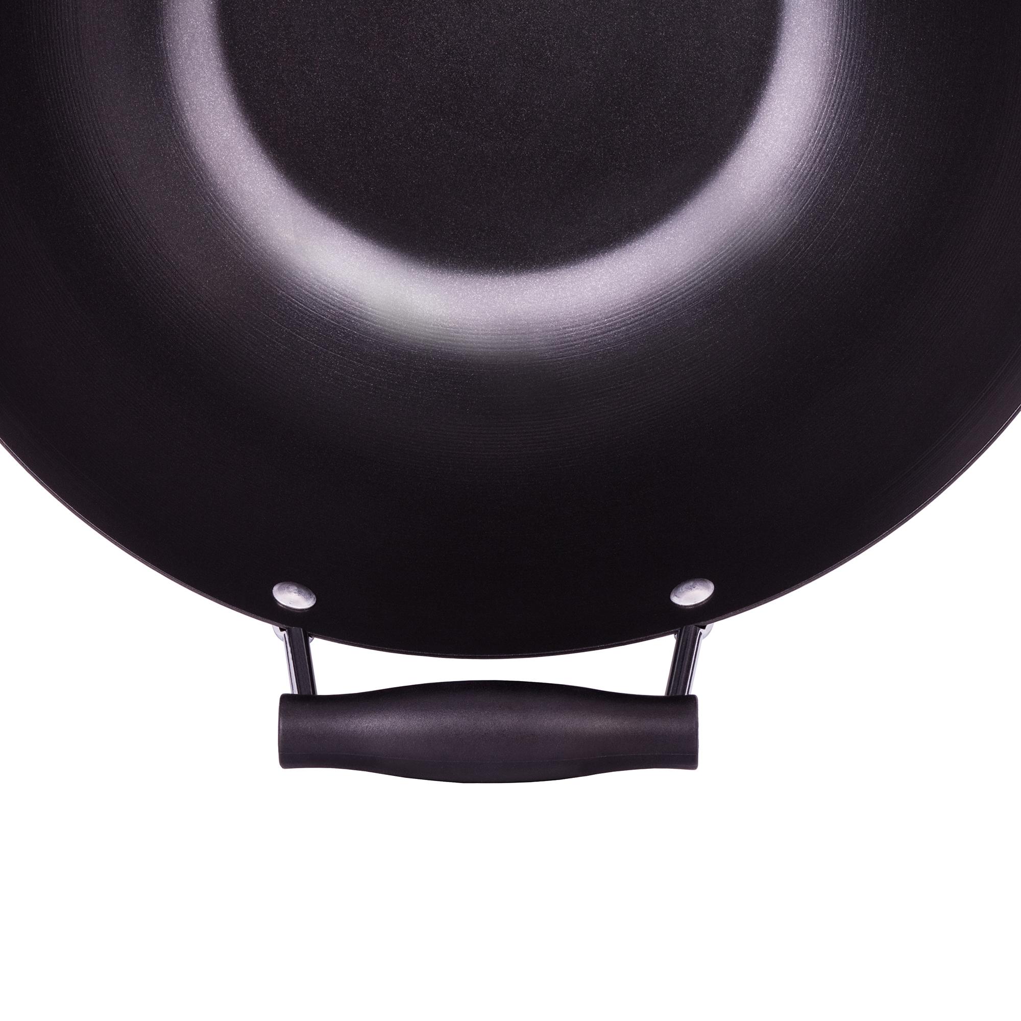 Smile SPC-2 Wok de Acero al Carbono 35cm inducción, Antiadherente sin PFOA, mango ergonómico,espátula bambu, Apto Todas Las cocinas, vitroceramica, Gas, lavavajillas
