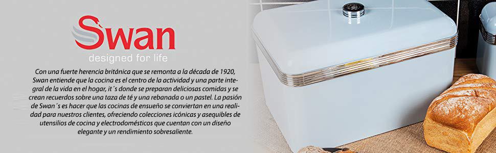 Swan SWKA1010RN Panera metálica con capacidad 18 litros vintage diseño retro
