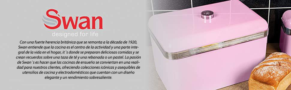 Swan SWKA1010RN Panera metálica con capacidad 18 litros vintage diseño retro Rosa