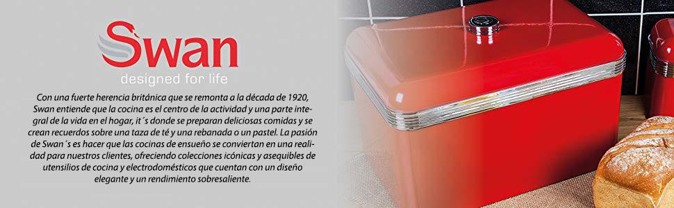 Swan SWKA1010RN Panera metálica con capacidad 18 litros vintage diseño retro Roja