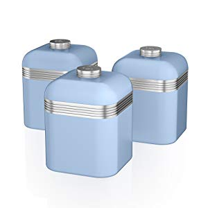 Swan SWKA1020RN Set 3 Botes metálicos de almacenamiento 1 litro, especias, té ,café, vintage diseño retro Rojo