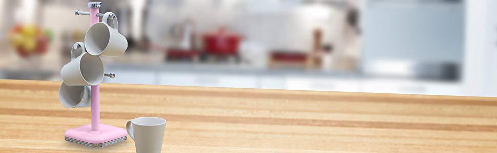 Swan SWKA1030PN Soporte para 6 Tazas café, acero inoxidable alta calidad, vintage diseño retro Rojo