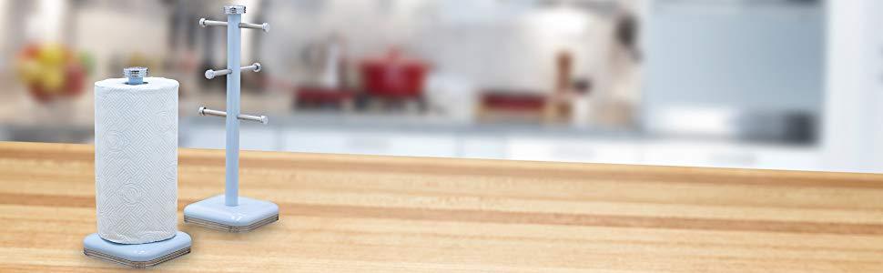 Swan SWKA1040GN Porta Rollos de papel de cocina, acero inoxidable alta calidad, vintage diseño retro Verde