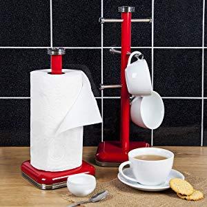 Swan SWKA1040RN Porta Rollos de papel de cocina, acero inoxidable alta calidad, vintage diseño retro Rojo