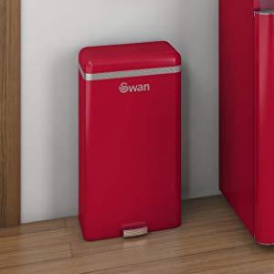 Swan SWKA4500RN Cubo Basura sensor apertura automático, metálico capacidad 45 litros, vintage diseño retro Rojo