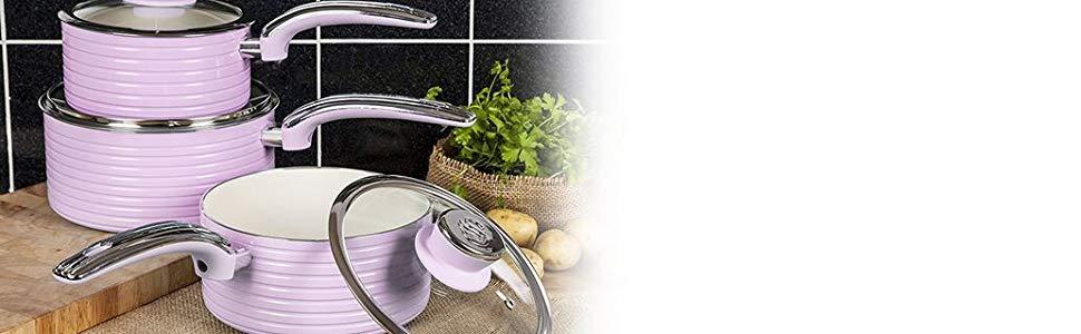 Swan SWPS3020PN Retro Batería cocina 3 Cazos 16-18-20cm con tapa vidrio,