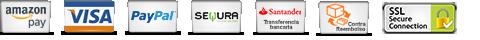 Aceptamos formas de pago - Paypal - Tarjeta de Crédito - Contrareembolso - Transferencia - Conexión SSL
