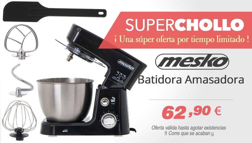 Mesko MS 4217B Batidora Amasadora Repostería Profesional Robot Cocina Orbital, 1200W MAX, 3,5 litros, 6 velocidades, Negro